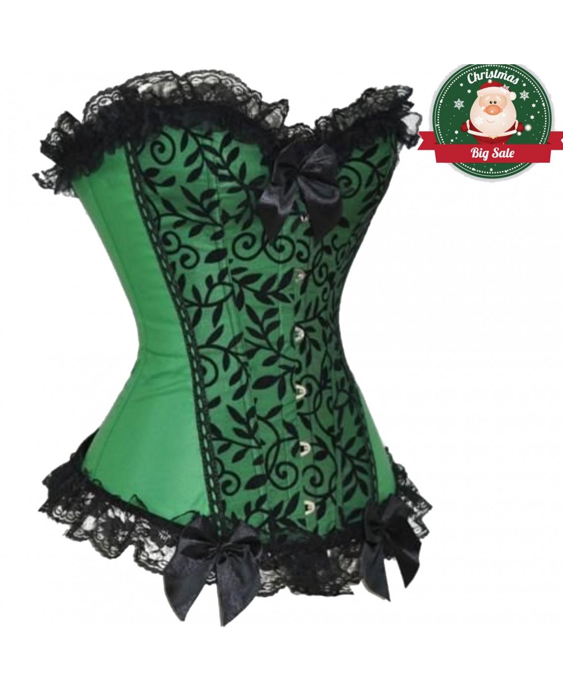 Women Steampunk Bustiers Corsets Overbust Waist Cinching Party Costume Tops Green