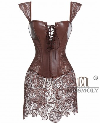 Women Steampunk Faux Leather Bustier Sexy Dress Corset Top Zip Plus Size Brown