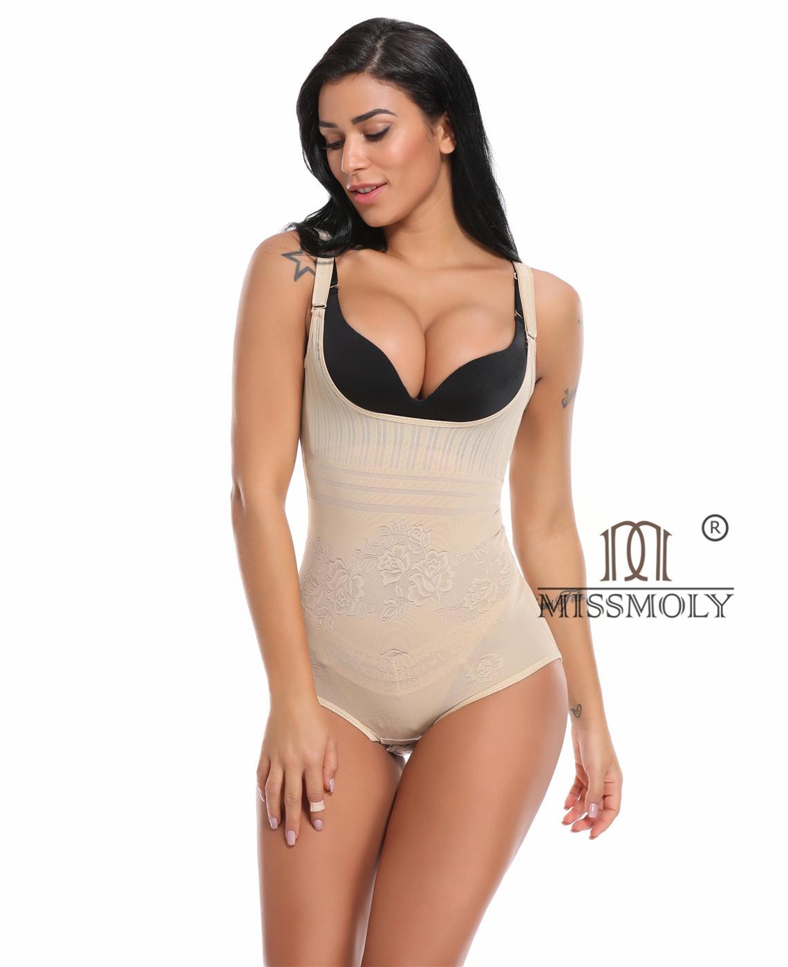 cb31ff741 Seamless Body Shaper Open Bust Shapewear Tummy Slimmer Bodysuit for women  Beige
