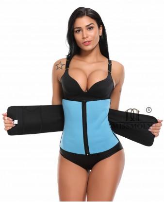 Adjustable Neoprene Waist Trainer Shapewear for Weight Loss Sweat Zipper Fajas Sauna Suits Blue